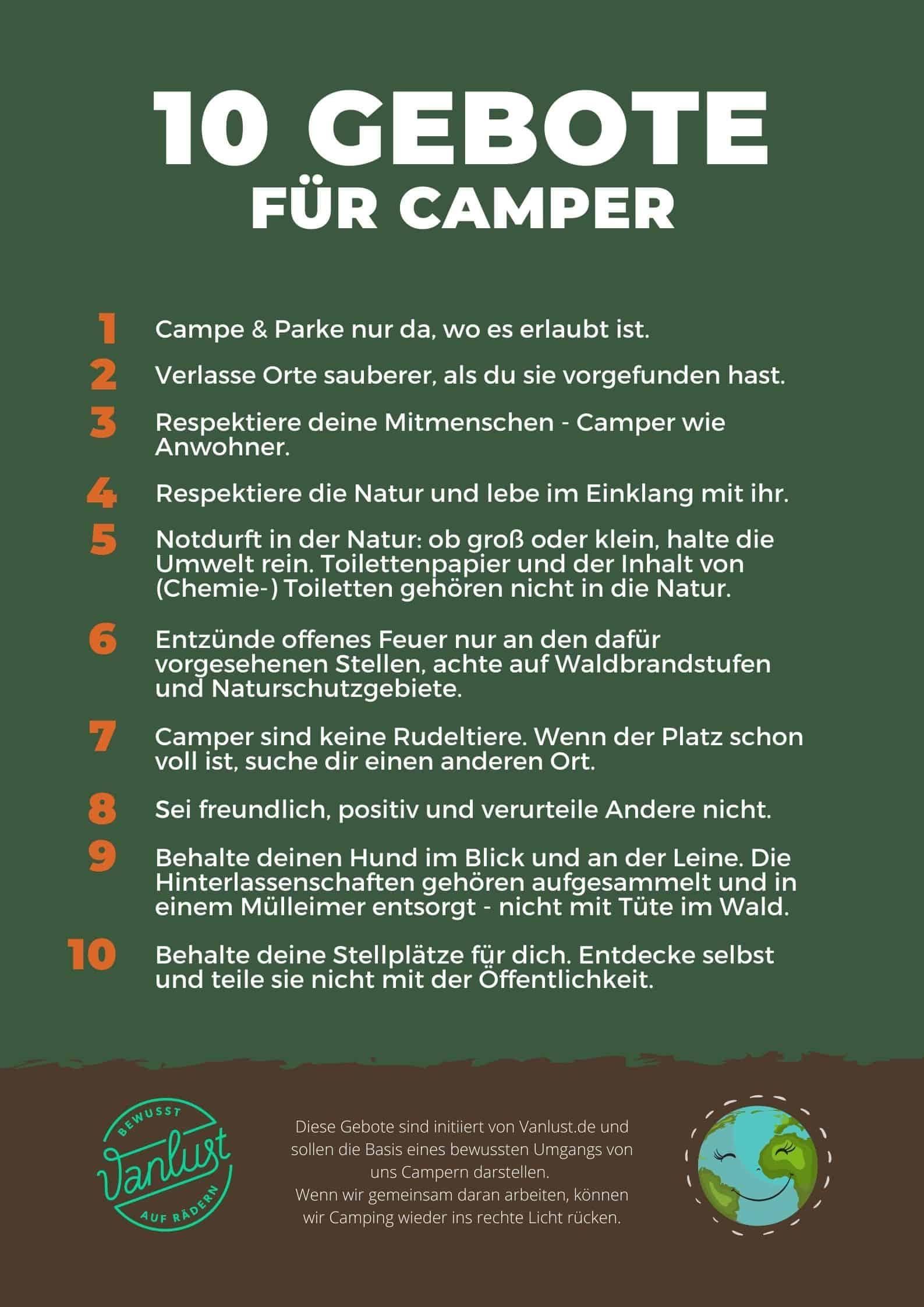 10 Gebote für Camper